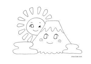 かんたんぬりえ2019年1月②初日の出と富士山 Kaechabi 虹色の筆