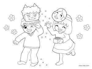 かんたんぬりえ2月のイラスト3点①豆まきする子ども②ウグイスが