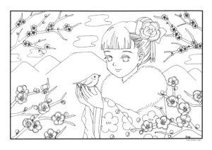 春よ来いぬりえ2月3月梅の花福寿草立春スケートふきのとう
