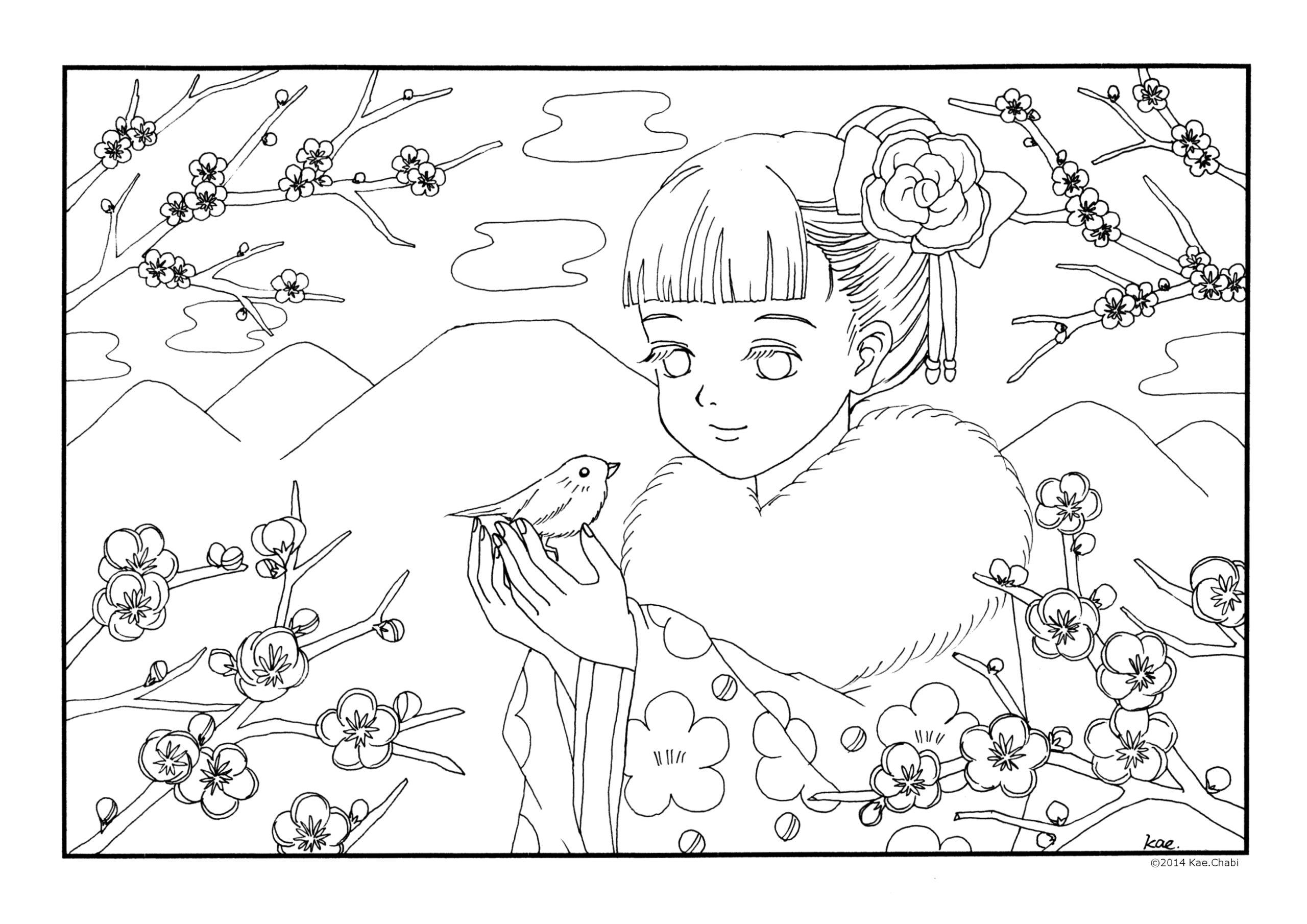 春よ来い ぬりえ2月 3月 梅の花 福寿草 立春 スケート ふきのとう 子どもたち 大人の塗り絵 かえちゃびのぬりえカレンダー