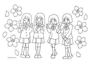 かんたんぬりえ3月ひな祭りひな人形卒業式集合写真桜大人の