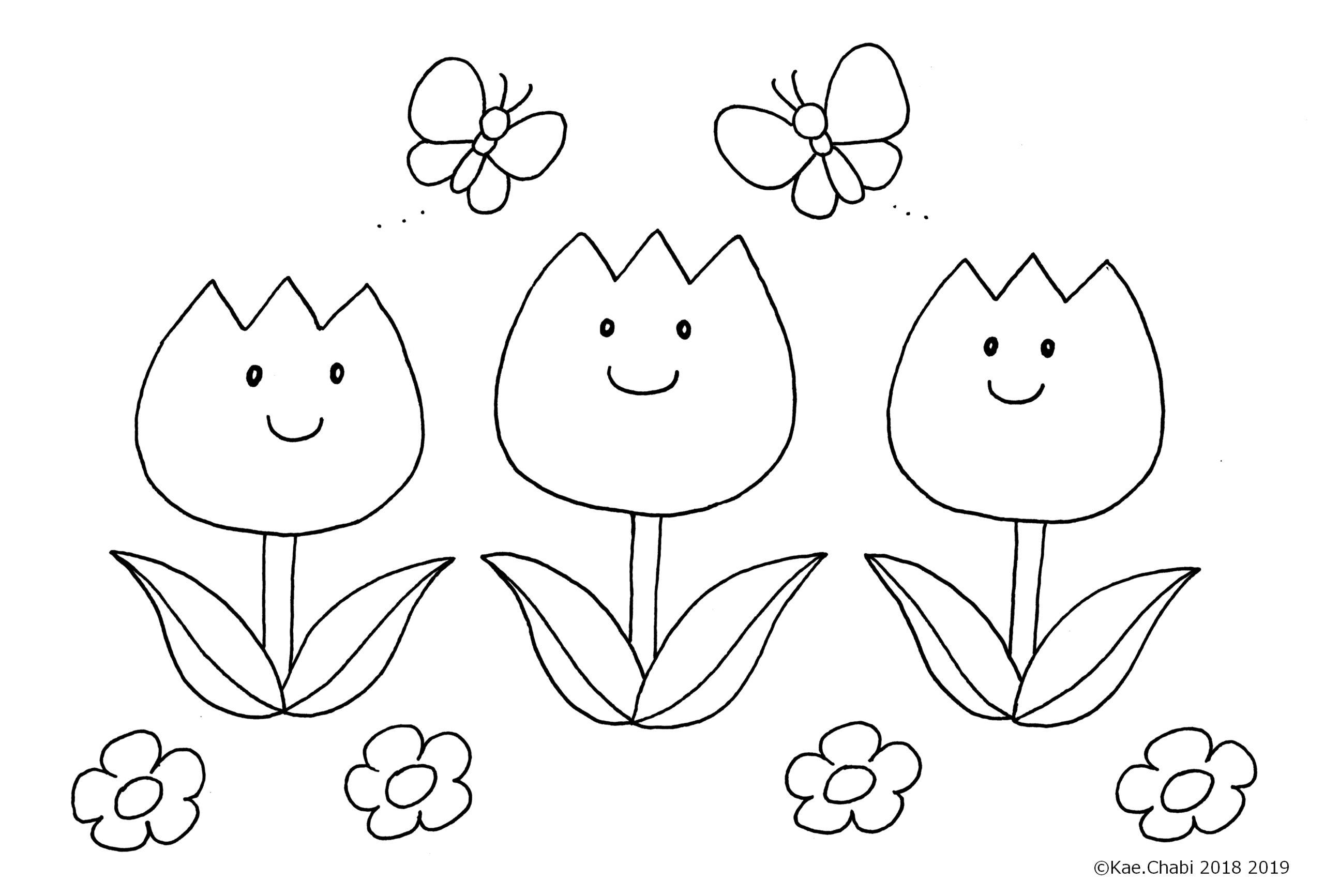 4月 5月にも使えるかわいいチューリップの塗り絵 花束 ぬりえ線画 他 童話モチーフも かえちゃびのぬりえカレンダー