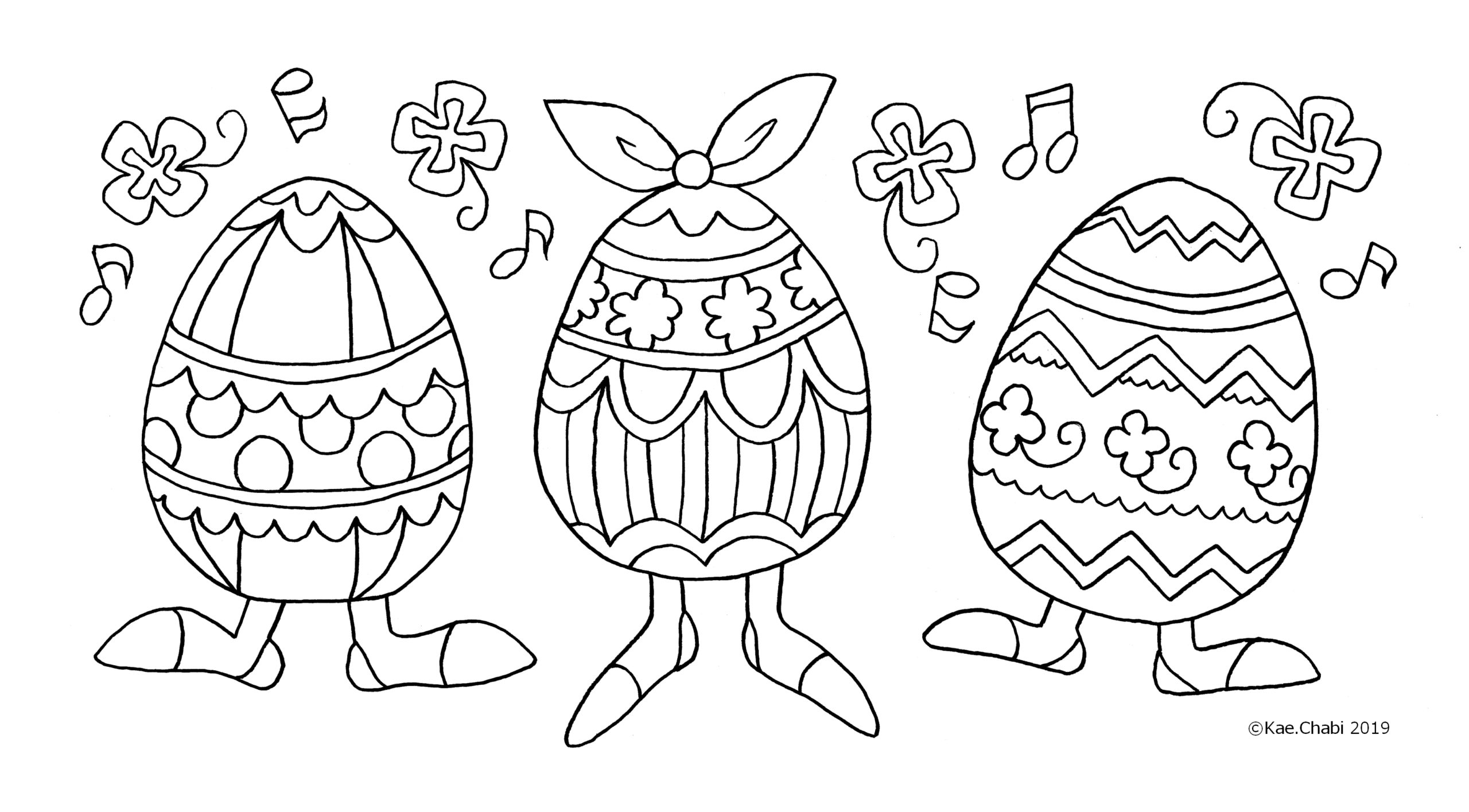 4月のイベントぬりえ イースター イースターエッグ ウサギ カラフル タマゴ 塗り絵線画 かえちゃびのぬりえカレンダー