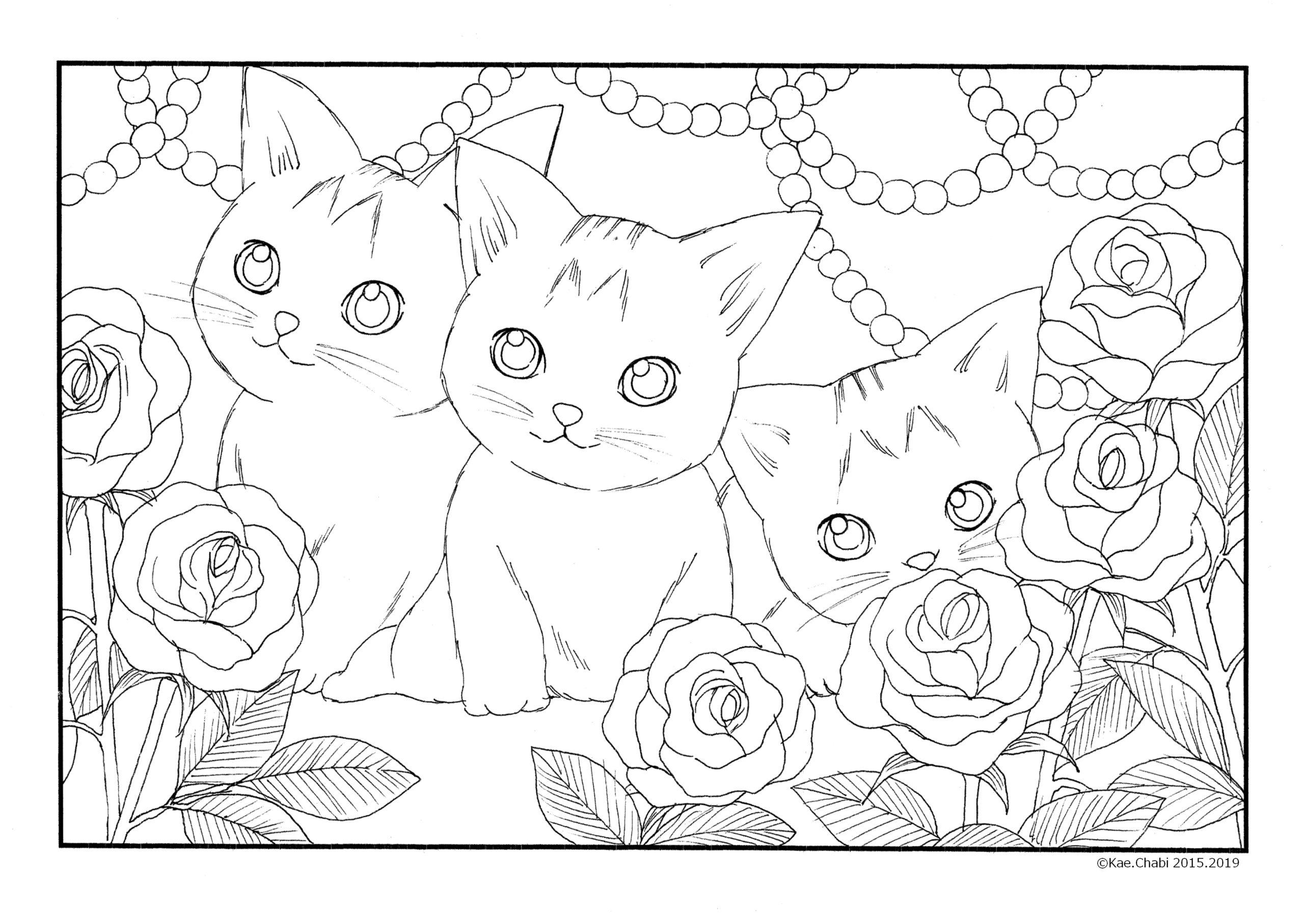 6月ぬりえ バラの花と猫 薔薇 真珠 6月誕生石 猫と女性 大人の塗り絵 アリス ハートの女王のバラ園 線画 かえちゃびのぬりえカレンダー